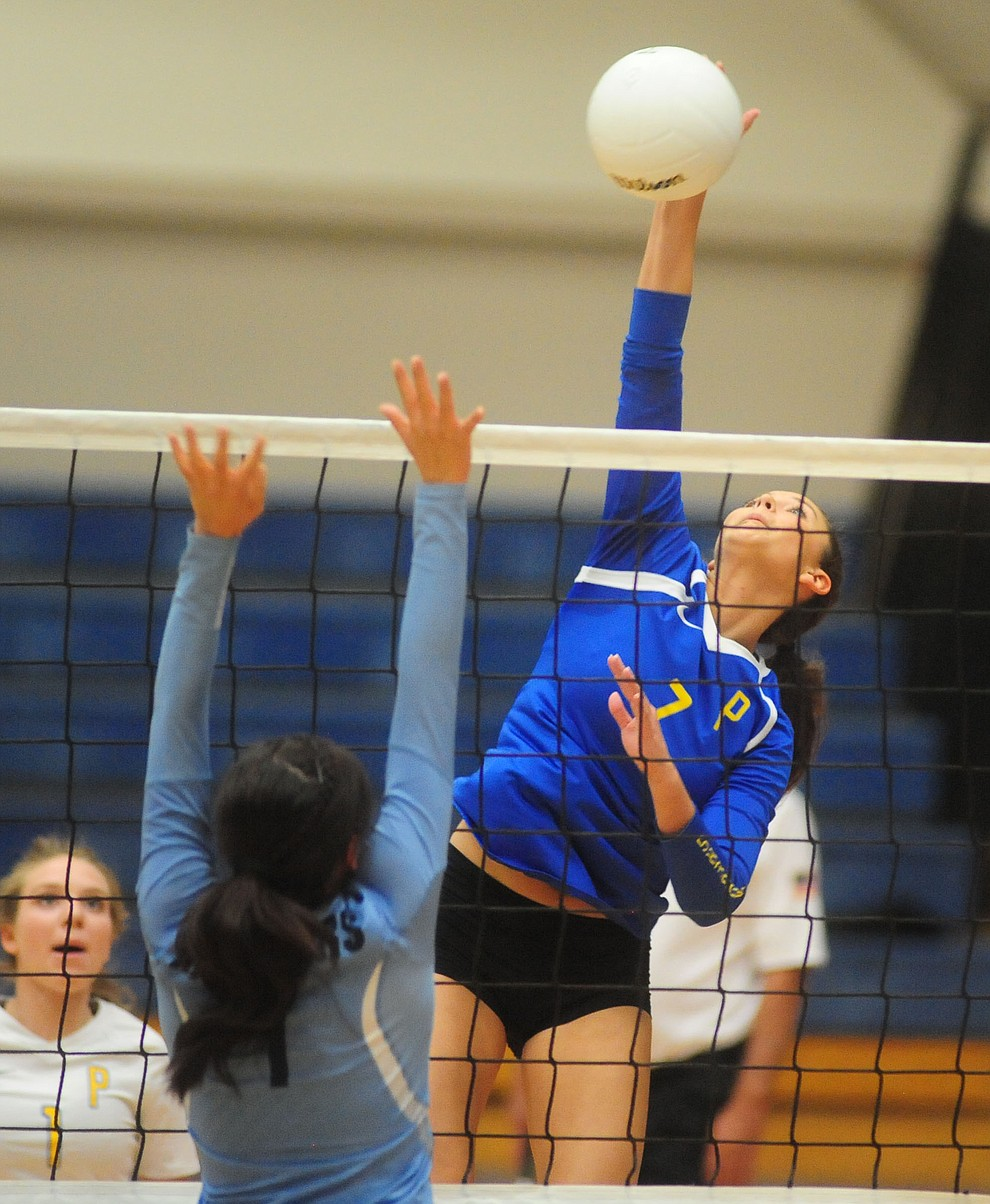 Prescott's Ashlynn Uvila hits a hard kill as the Lady Badgers take on Pueblo Magnet in the first round of the Arizona Interscholastic Association State Volleyball Tournament in Prescott Wednesday, Nov. 2.