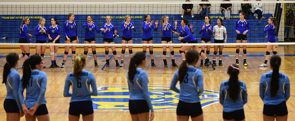 Prescott Lady Badgers are introduced as they take on Pueblo Magnet in the first round of the Arizona Interscholastic Association State Volleyball Tournament in Prescott Wednesday, Nov. 2.