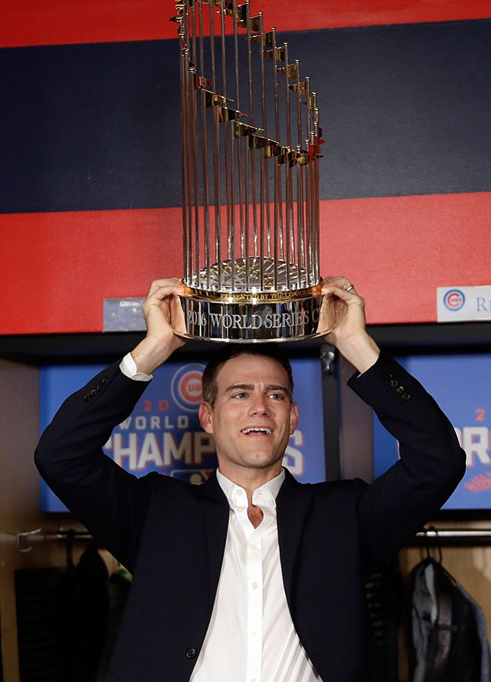 Chicago Cubs president for baseball operations Theo Epstein celebrates after Game 7 of the World Series on Thursday in Cleveland.