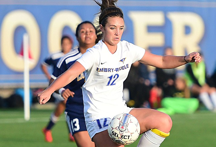 Embry Riddle's Parker Lee handles a pass as the Eagles take on La Sierra on Thursday, Nov. 3, in Prescott. Embry-Riddle won, 3-0. (Les Stukenberg/The Daily Courier)