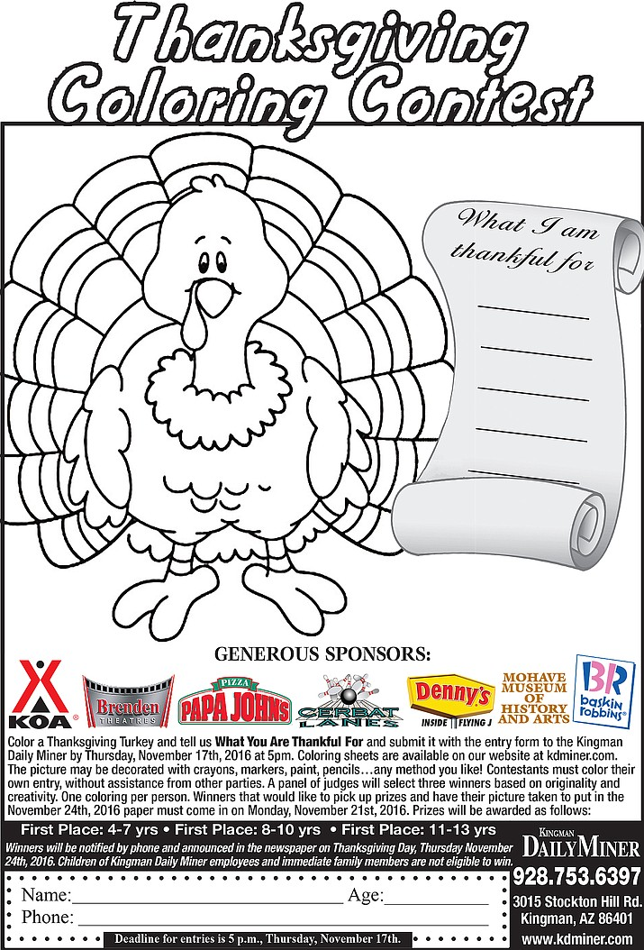 Thanksgiving Coloring Contest is just for kids | Kingman ...
