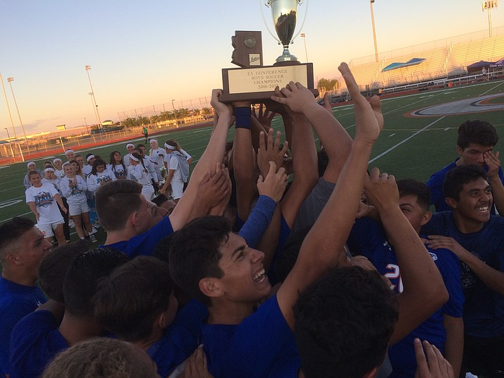 Chino Valley High School boys celebrate.