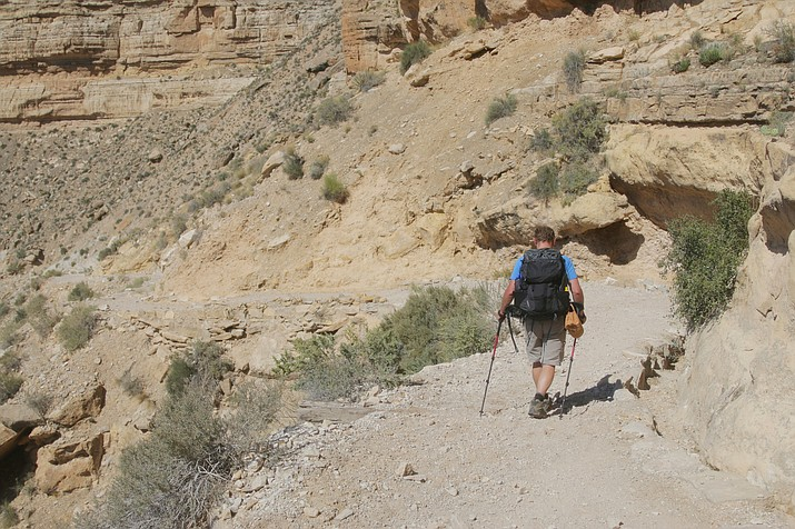 Matt Rudig makes the first leg of the nearly eight mile round-trip hike to Supai at the bottom of the Grand Canyon.