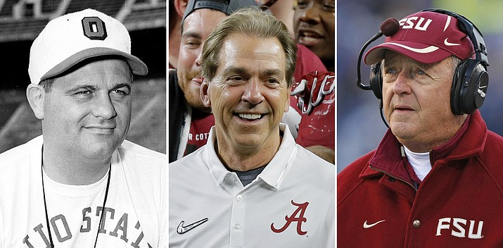 From left are Ohio State football coach Woody Hayes, in 1951, Alabama coach Nick Saban, in 2015, and Florida State coach Bobby Bowden, in 2007. Saban is on the verge of another milestone victory, another number that gives a glimpse at how dominant his teams have been at Alabama. A victory by the Crimson Tide against Mississippi State on Saturday in Tuscaloosa will be Saban's 40th when Alabama has been ranked No. 1, matching Bowden and Hayes for the most by a coach.
