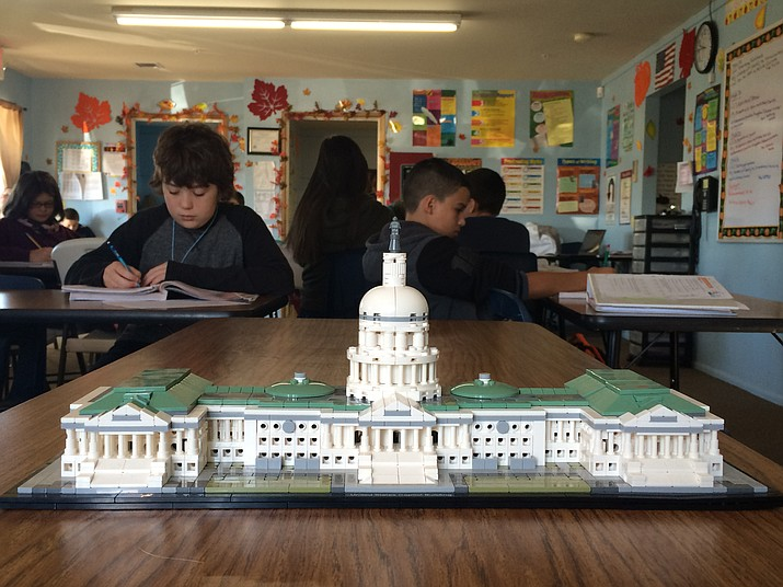 Students at Acorn Montessori School built a LEGO model of the United States Capitol Building.