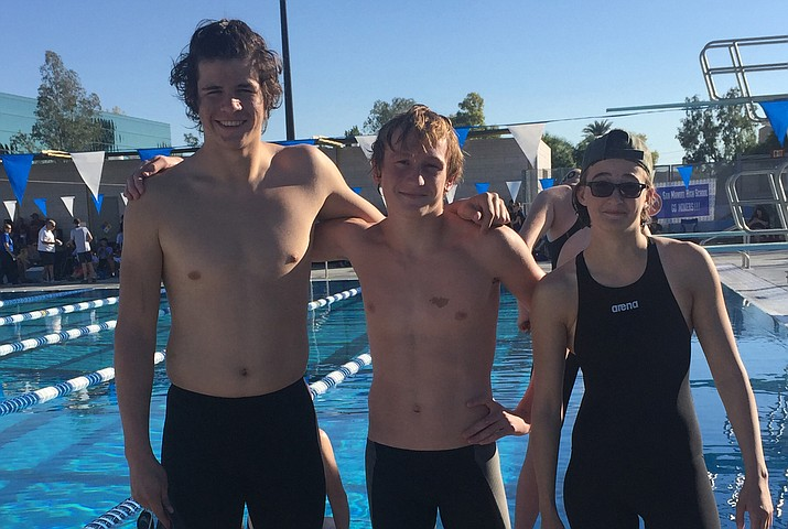 Lee Williams, Kingman Academy and Kingman High schools were represented in the AIA Division III State Swim Championship finals Nov. 5 in Paradise Valley. From the left is Lee Williams' Marco Narvarte, the Academy's Nic Depner, and Kingman High's Meghan Yingling.