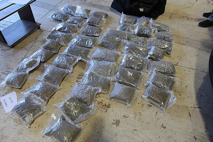 A California man allegedly hauling a couple hundred pounds of pot, a portion that is pictured here, was arrested Thursday.