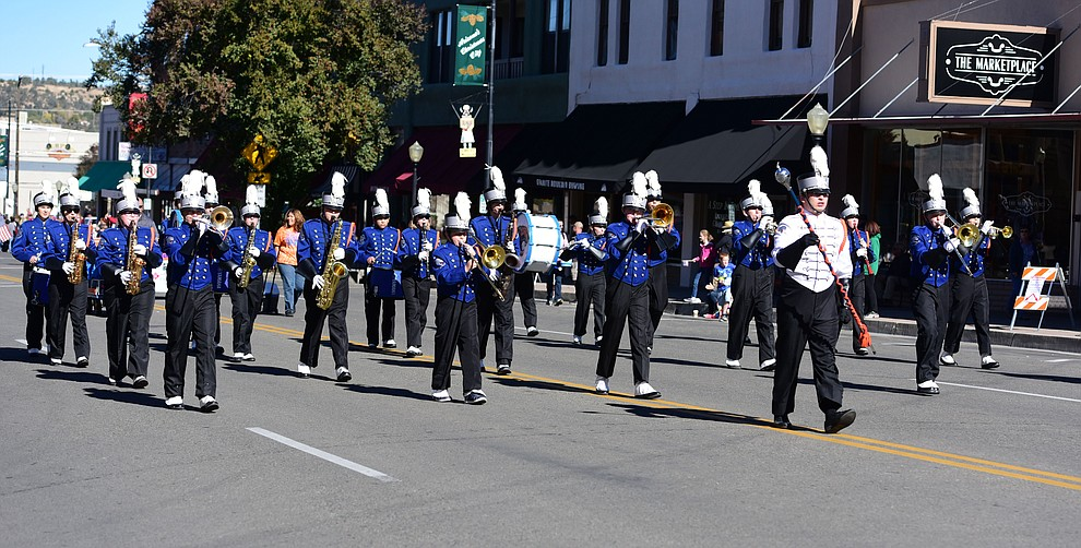 The Chino Valley High School band performs as crowds lined the streets as the 2016 Veterans Day Parade winds through the streets of downtown Prescott Friday morning. The parade featured over 90 entries.