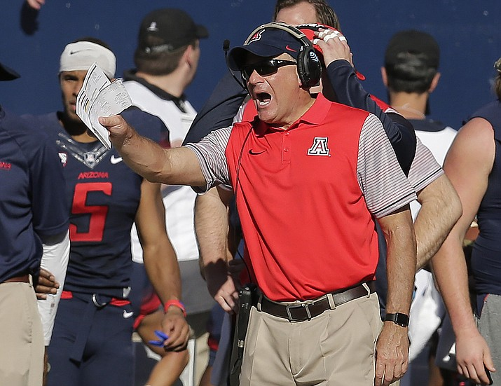 "In this Oct. 15, 2016, file photo, Arizona coach Rich Rodriguez shouts during the second half of the team's NCAA college football game against Southern California in Tucson, Ariz. ""They've (Colorado) stayed healthy, they've played hard, they're well-coached and they have a lot of confidence right now,"" Rodriguez said. ""They're playing really good football and we'll get a really good team coming here on Saturday night."""