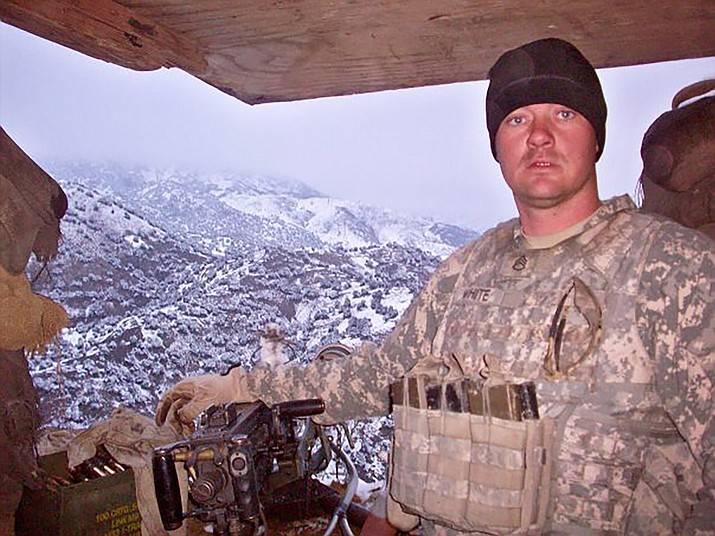 Jack White, then a sergeant first class, at a remote observation post in Afghanistan that would later be attacked by Taliban fighters, who were repelled due in large measure to White's actions.