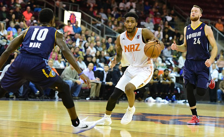 Northern Arizona's Derrick Jones Jr. cuts around a defender as the Suns take on the Iowa Energy in the home opener for the Phoenix Suns D League team Saturday, Nov. 12 at the Prescott Valley Event Center.