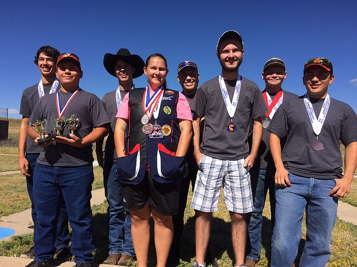 Prescott Bird Busters youth scholastic clay target shooters, from left, in the front row, Jacob Steiner, Samantha Witty, Lewis Aul and Josh Steiner. In the back row, Simon Stull, Nick Sallee, Jakob Woods and John Michael Cleland. Not pictured: Brandi Goss, Cole Parrish, Colton Underwood, Joseph Witty and Ellie Wachtel.