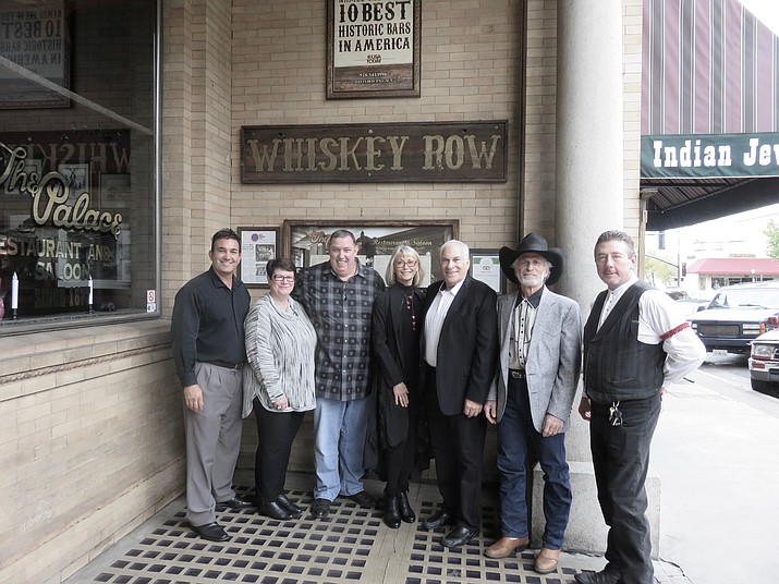 Just about all of the partners who own The Palace Saloon and Restaurant together gathered at the business for its 20-year anniversary last month. From left: Raymond Zogob, Marianne Day, Patrick Day, Jere-Rae Mansfield, Scott Mansfield, Dave Michelson, and Scott Stanford.