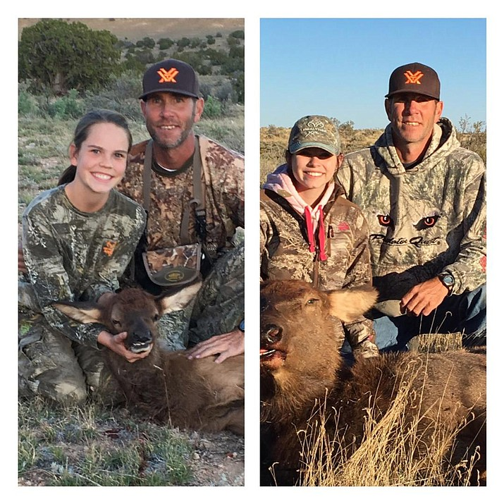 Talyn (left)  and Taylor Gordon, along with their father Rink, show the elk that they took on their hunts in Unit 10.