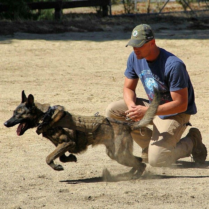 Adam Simonsen trains with the latest addition to KPD, Diesel, in Moorpark, Calif.
