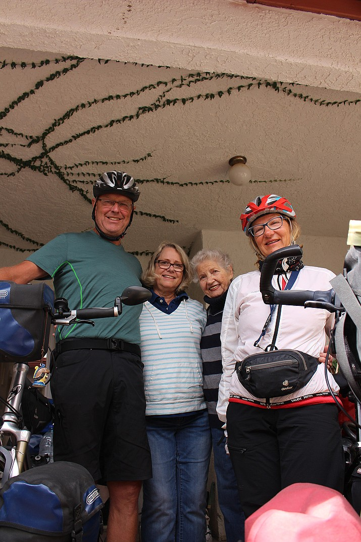 Werner Wilkens, Kate Arnold, Jean Arnold, and Karen Wichert made a lasting friendship after meeting at a Texas RV park. Wilkens and Wichert, from Germany, are nearing the end of an epic North American bike ride. The Arnolds are two of many Americans they've befriended over the past few months.