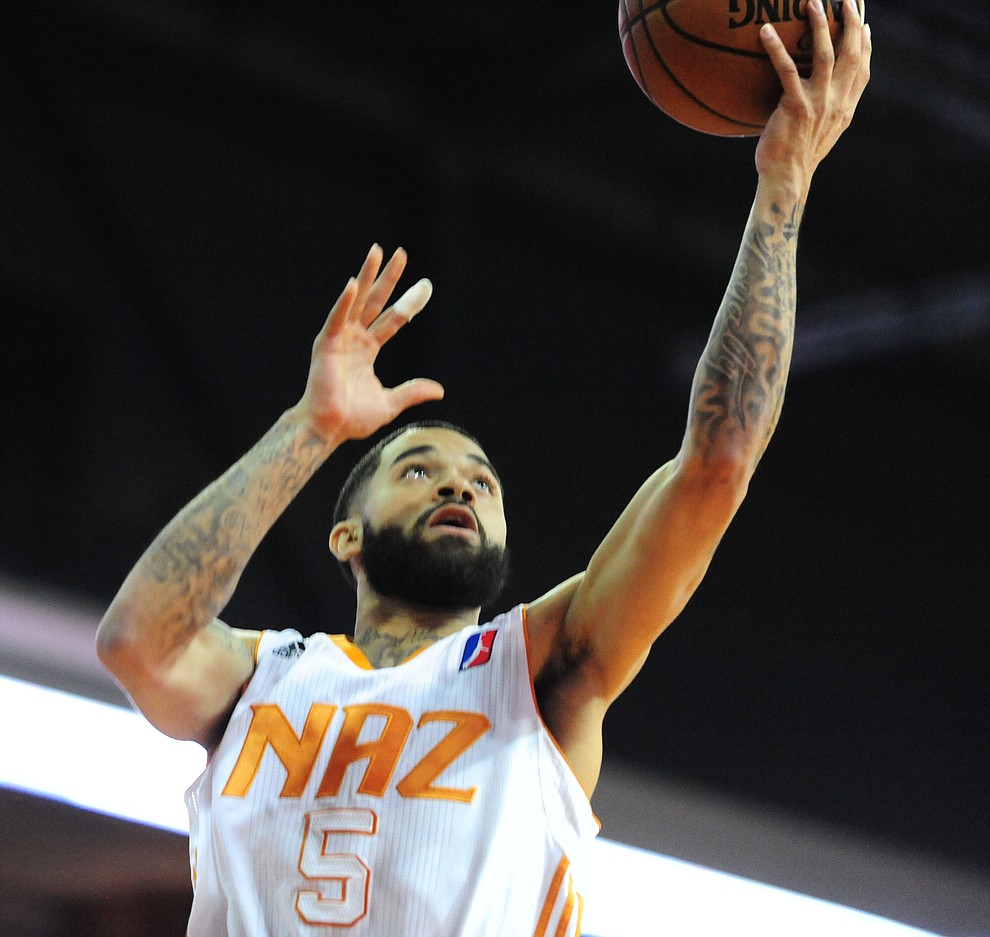 Northern Arizona's Josh Gray lays in a basket as the Suns take on the Salt Lake City Stars Saturday, November 19 at the Prescott Valley Event Center. (Les Stukenberg/The Daily Courier)