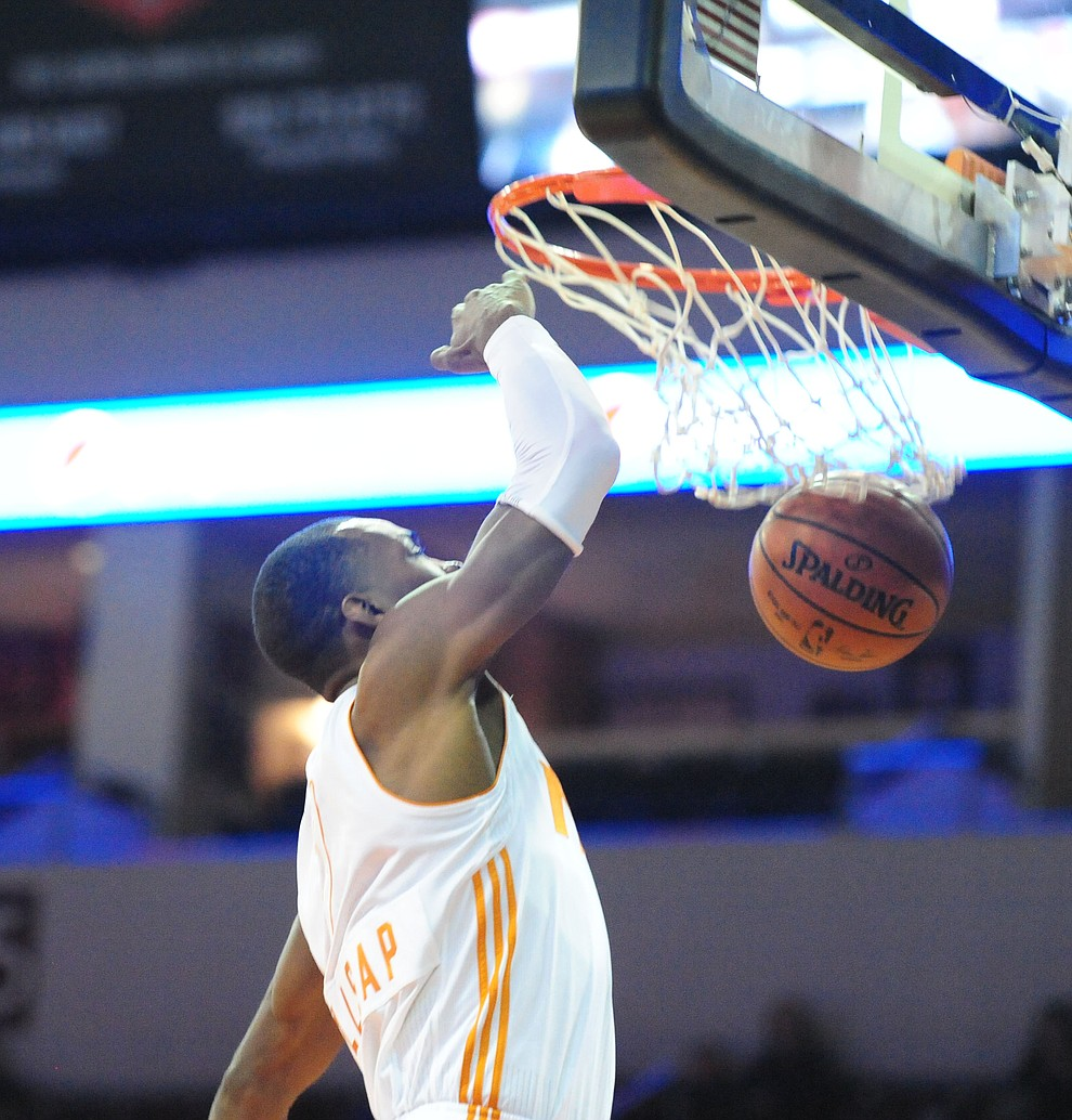 Northern Arizona's Elijah Millsap finishes a dunk as the Suns take on the Salt Lake City Stars Saturday, November 19 at the Prescott Valley Event Center. (Les Stukenberg/The Daily Courier)