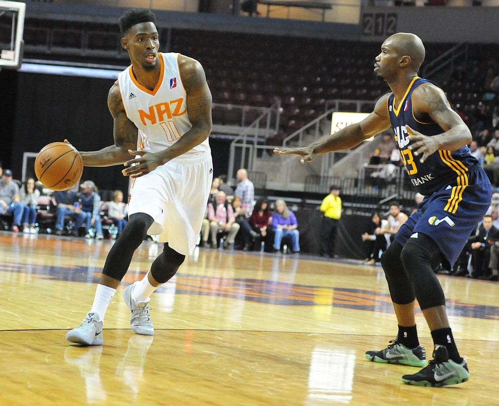 Northern Arizona'a Derek Cooke Jr. looks to pass as the Suns take on the Salt Lake City Stars Saturday, November 19 at the Prescott Valley Event Center. (Les Stukenberg/The Daily Courier)