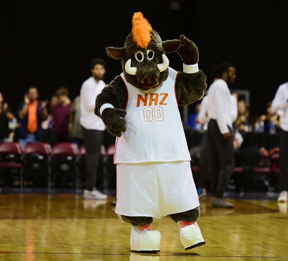 Buckets the Ball Hog energizes the fans as the Northern Arizona Suns take on the Salt Lake City Stars Saturday, November 19 at the Prescott Valley Event Center. (Les Stukenberg/The Daily Courier)