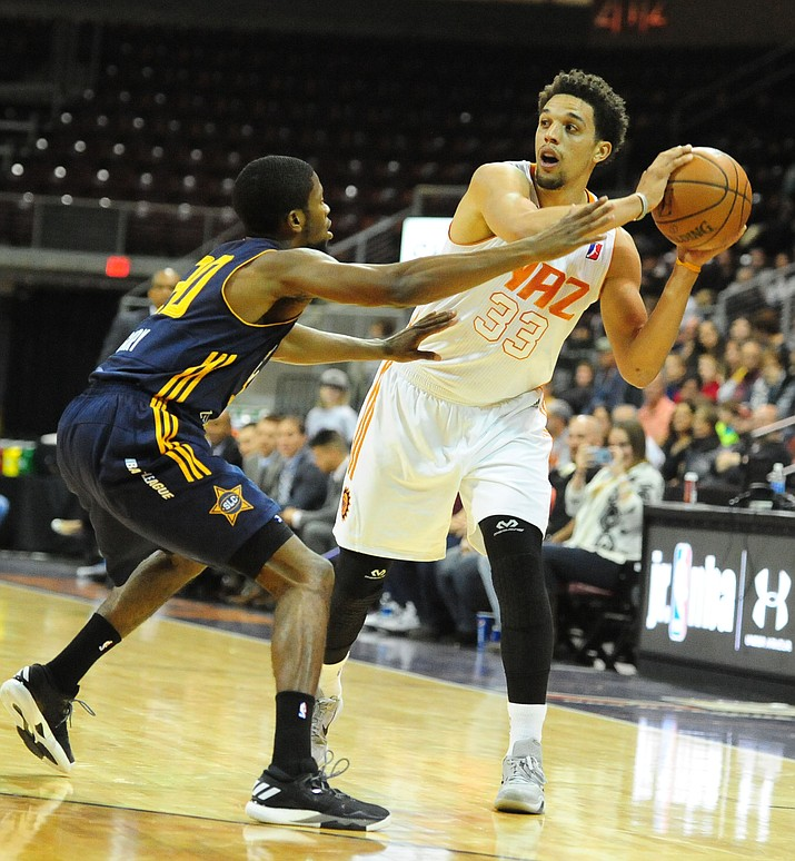 Northern Arizona's Michael Bryson (33) looks to pass as the Suns take on the Salt Lake City Stars on Saturday at the Prescott Valley Event Center. The NAZ Suns beat the Stars 101-86. See full photo gallery online at dCourier.com.