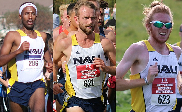 Futsum Zienasellassie, Matt Baxter and Tyler Day were NAU's top 3 finishers in Saturday's NCAA championship victory for the Lumberjacks, the first NCAA Division 1 ccrown in Northern Arizona University history. (Photos courtesy of NAU)