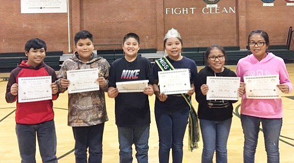 "Sixth grade students from Tuba City Junior High display their ""A"" Honor Roll certificates. Photo/Rosanda Suetopka"