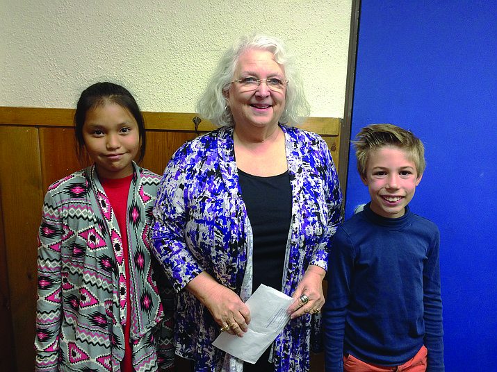 Rita Linneman's fourth grade students Jaemie Jensen and Rem Chenevert participate in Coconino County's 7th annual Water Ethic Contest.