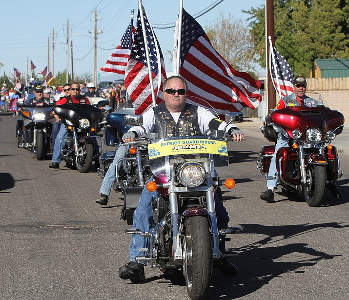 The Patriot Guard Riders participate in the Lingenfelter Center's annual Veteran's Day Parade Nov. 11.