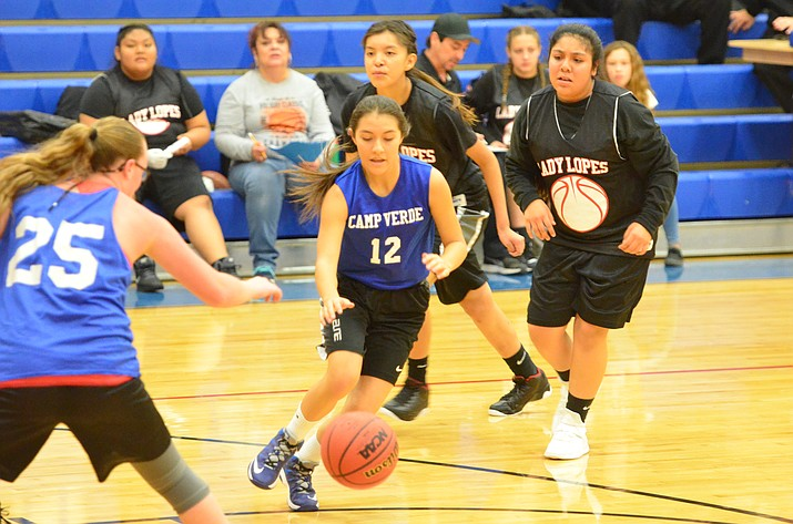 The Camp Verde girls team eturns three starting seniors, forward Kayla Hackett, post player Melissa Presmyk, and guard Raiven Alvey. Camp Verde finished 13-15, and 5-5 in league play. (VVN/Vyto Starinskas)