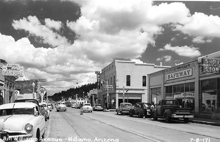 Williams was a popular stop-over during the 60 years Route 66 passed through the town. The above photo shows the downtown area in the 1940s.