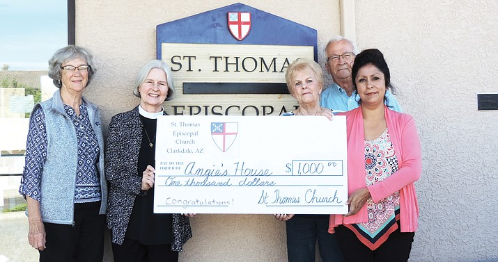 After reading an article in the Verde Independent concerning the efforts of Angie's House, St. Thomas Church decided to take some action and donate $1,000 to Angie Lozano to aid her efforts in helping people discover the joy and sober living. Angie's House offers an atmosphere of dignity, respect, encouragement, and motivation. (Courtesy photo)