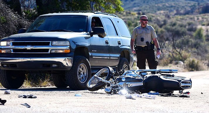 A motorcyclist died Friday, November 25 in this collision at Iron Springs Road and Dosie Road in Yavapai County. The Chevrolet Tahoe in the photo was not involved in the collision. (Les Stukenberg/The Daily Courier)