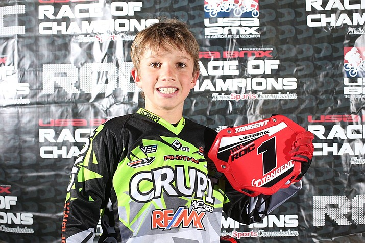 Josh White of Kingman, 9,  captured the 2016 USA BMX Race of Champions in the 9 Expert Class during the USA BMX Grands Friday at the River Spirit Expo in Tulsa, Okla.