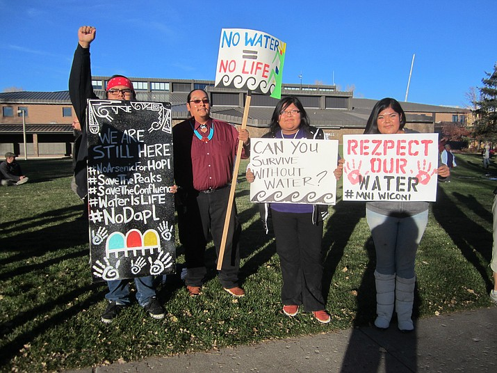 Hopi tribal members come out in support of Standing Rock Nov. 15 in Flagstaff in a nationwide day of action to protest the Dakota Access Pipeline in North Dakota. Photo/Katherine Locke