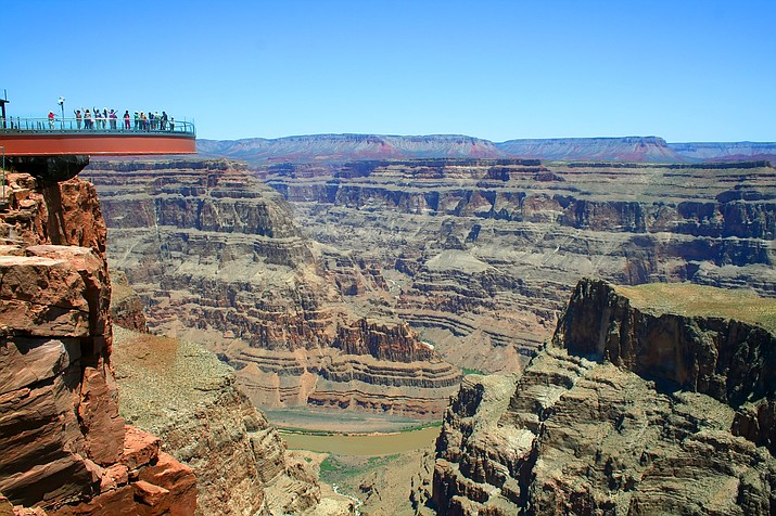 The Skywalk extends 70 feet out over the Grand Canyon.