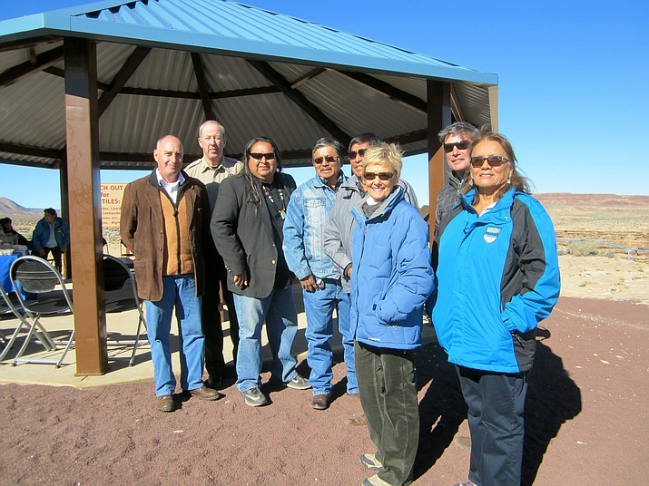 Cameron Chapter Cice President Emmett Kerley joins Cameron Chapter President Milton Tso, Navajo Parks and Recreation Director Martin L. Begaye and former Coconino County Board of Supervisors Mandy Metzger at the Little Colorado overlook for the dedication of a new pavillion, which includes interpretive material about the surrounding Navajo land and culture. Katherine Locke/NHO