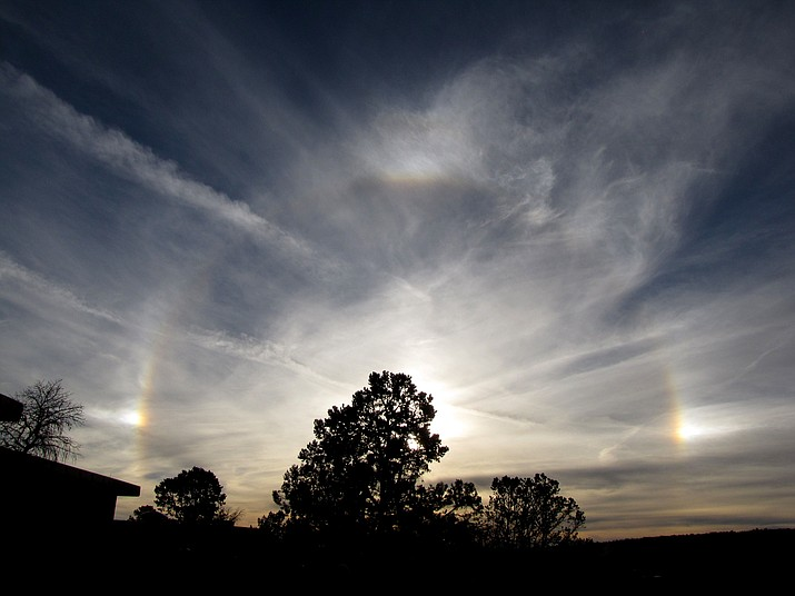 Sun halo and sun dogs at the Grand Canyon on a cold fall day.