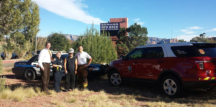 Sedona Fire Chief Kazian is working in conjunction with City of Sedona Police Officer, Jackie McQuaid and Sedona Oak Creek School District Superintendent, David Lykins to raise money for Special Olympics Arizona. (Photo Courtesy of Sedona Fire Chief Kris Kazian)