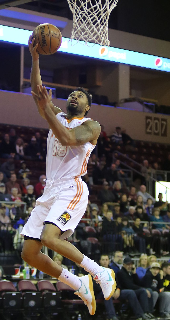 Northern Arizona's Xavier Silas goes up for a bucket in the first half against the Reno Bighorns on Saturday night in Prescott Valley. Silas, making his Suns debut, scored nine points in a 130-106 victory.