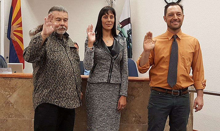 "Mayor Tim Elinski and council members Tosca Henry and Ruben Jauregui were sworn into office Nov. 21. The ""new"" Cottonwood City Council meets Tuesday, Dec. 6, at the council chambers in Old Town, located at 826 N. Main St. (Courtesy photo)"