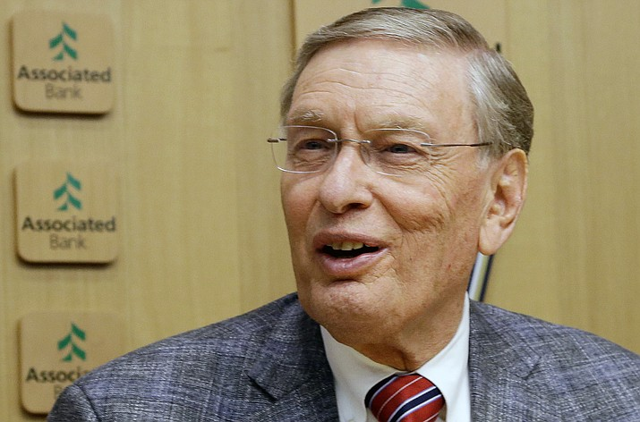 In this Sept. 26, 2014, file photo, Major League Baseball Commissioner Bud Selig speaks before a baseball game between the Milwaukee Brewers and the Chicago Cubs at Miller Park in Milwaukee. Team owners came together Wednesday, jan. 14, 2015,for their annual January meeting in the desert with one big item on the agenda _ honoring Bud Selig in his final gathering with them as commissioner.