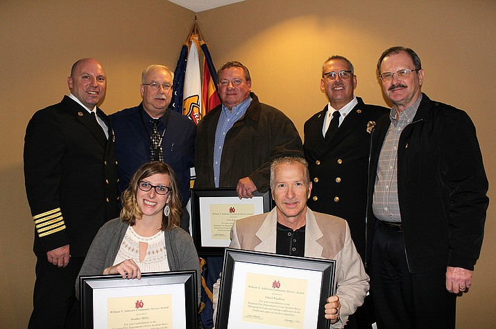 Awardees for the William N. Johnston Award; top row: Kingman Fire Chief Jake Rhoads, Mohave County Jail Director Don Bischoff, retired KFD Engineer Chris Kimrey, Assistant Fire Chief Keith Eaton and Mohave County Risk and Emergency Management Director Byron Steward. Bottom row: Kingman Regional Medical Center Pre-Hospital Coordinator and Trauma Program Manager Heather Miller and Supervisor of Operations at American Medical Response Chuck Waalkens.  The William N. Johnston Award recognizes Kingman Fire Department and non-department contributors to the department's organization and leadership. Contributions include on and off duty assignments and responsibilities.