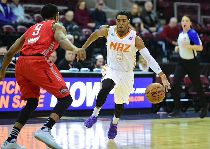 Northern Arizona's Shaquille Harrison drives to the basket as the Suns take on the Rio Grande Valley Vipers Wednesday, December 7 at the Prescott Valley Event Center. (Les Stukenberg/The Daily Courier)