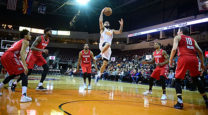 Northern Arizona's Josh Gray flies down the lane while five defenders stand by and watch as the Suns take on the Rio Grande Valley Vipers on Wednesday, Dec. 7, at the Prescott Valley Event Center. (Les Stukenberg/The Daily Courier)