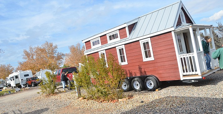 A tiny house arrives at Thousand Trails between Cottonwood and Camp Verde on Wednesday and will be available for guests to rent if you want to live like a giant. VVN/Vyto Starinskas