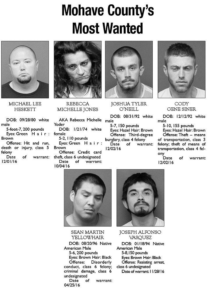 Mohave County's Most Wanted: Dec. 12, 2016