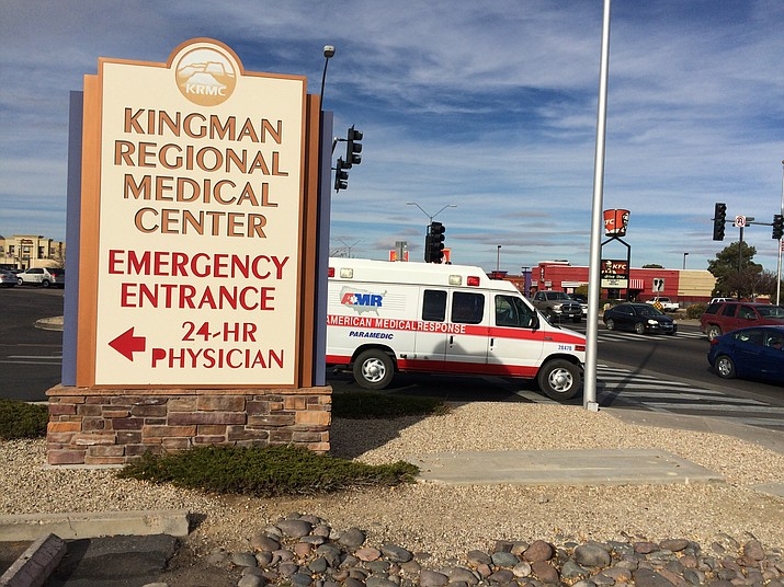 An American Medical Response ambulance leaves KRMC Wednesday. Obamacare enrollment ends on Thursday.