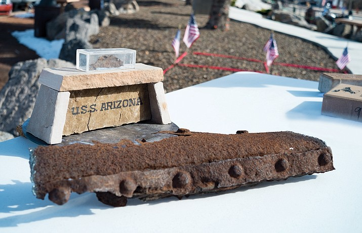 American Legion Cordova Post 13 reveals a portion of the U.S.S. Arizona it recently acquired and will use in a display at Memorial Park. The Legion broke ground on the new monument Dec. 7.
