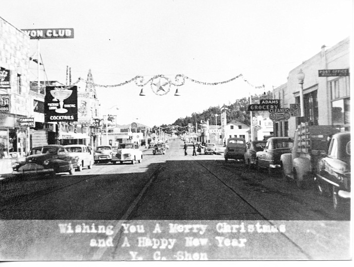 Route 66 is bridged with Christmas decorations during the 1940s.
